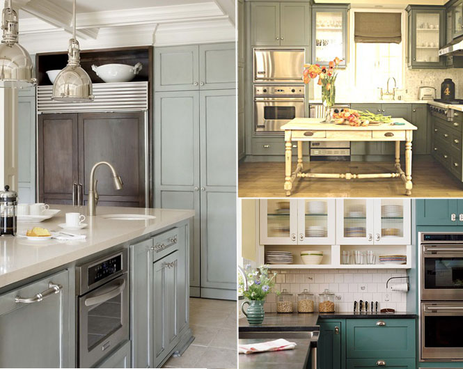 Blue green kitchen cabinets winda 7 furniture for Blue gray kitchen cabinets